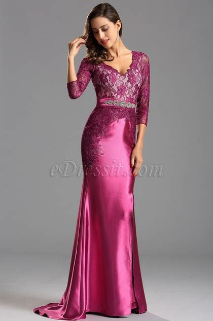 long lace sleeves hot pink formal dress prom gown