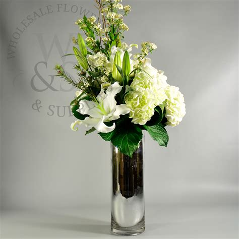 Cylinder Flower Vases by Mirrored Glass Cylinder Vase 20 Quot Wholesale Flowers