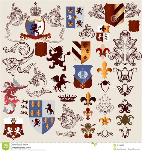heraldic design elements vector collection of vector heraldic elements for design stock