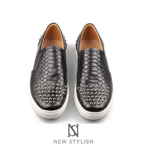 pattern black shoes shoes anaconda pattern leather slip on with studs in