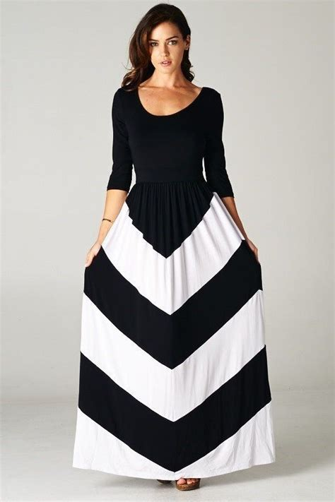 Longdress Softflow details about black white 3 4 sleeve chevron color block soft silky flowy maxi dress medium