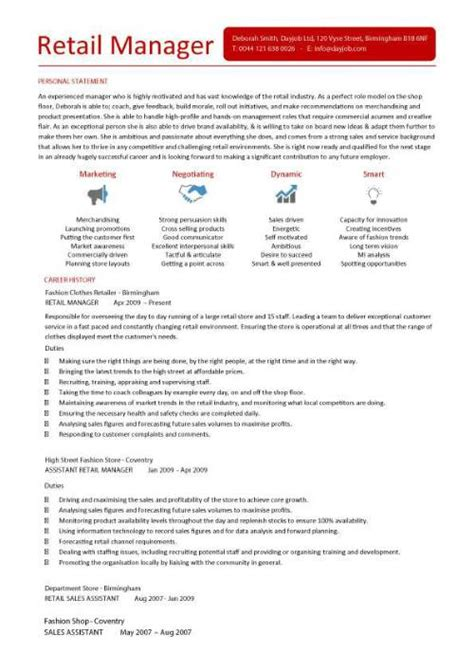 Vp Of Sales Resume Examples by Retail Manager Cv Template Resume Examples Job Description