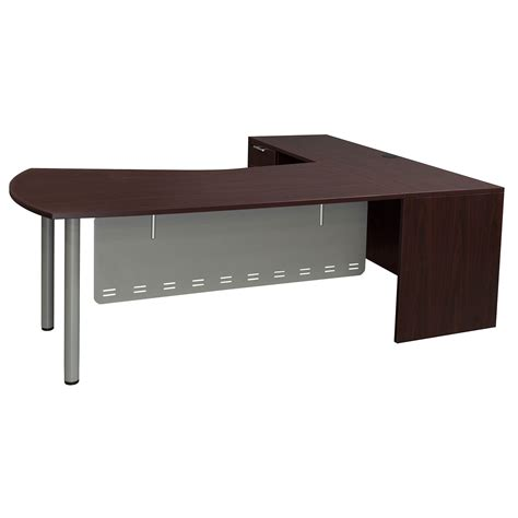 mahogany desk l shaped everyday modern left return laminate l shape desk