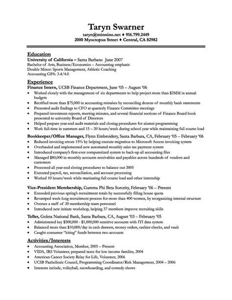 Bank Bookkeeper Sle Resume by Bookkeeper Resume With Quickbooks Experience 28 Images Junior Accountant Resume Sles