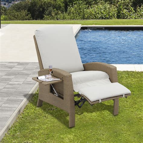 cushions for reclining garden chairs outsunny outdoor rattan wicker recliner lounge chair with