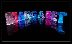 Make My Own Card Online - the name margaret in 3d coloured lights