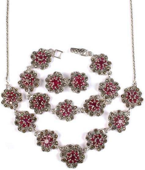 Faceted Ruby Necklace, Bracelet & Earrings Set