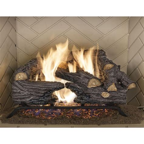 fireplace log emberglow 18 in split oak vented gas log set so18ngdc the home depot