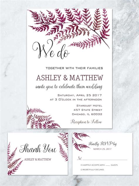 Fern Paper Wedding Invitation Kits by Woodland Wedding Invitations Fern Wedding Invitation
