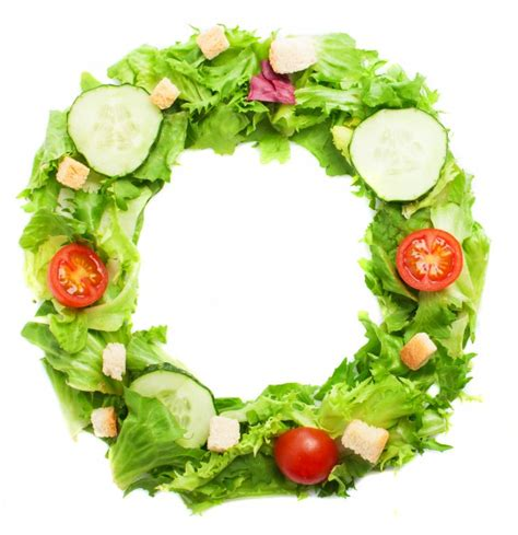 up letter with food letter o made with healthy food photo free