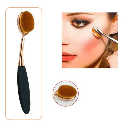 kuas kosmetik make up oval brush wajah tangkai besi 10 pcs