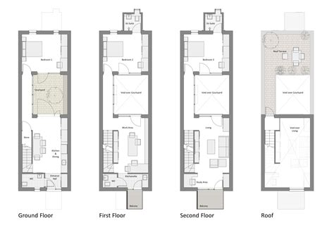 home architect plans courtyard row house marc medland architect building