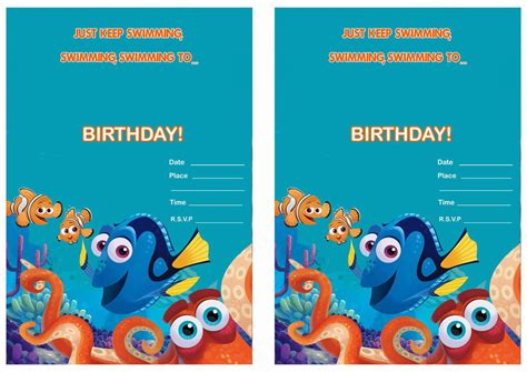 Finding Dory Birthday Invitations Birthday Printable Finding Nemo Invitation Template Free