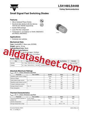 ls 4148 diode ls4148 07 データシート pdf vishay siliconix