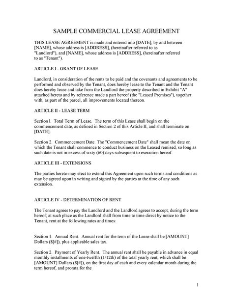 commercial lease agreement templates template lab