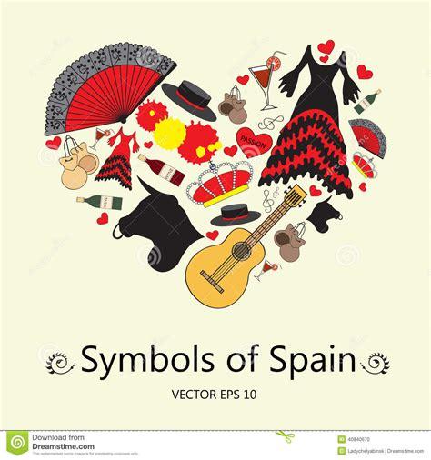 design themes spain s l coeur stylis 233 avec des symboles de l espagne illustration