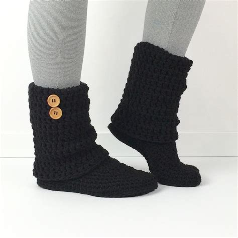 s crochet black slouchy slipper boots by starduststyle