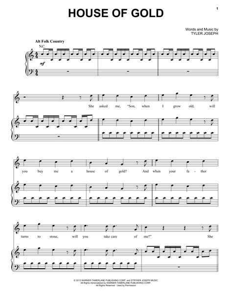 chords to house of gold house of gold sheet music direct