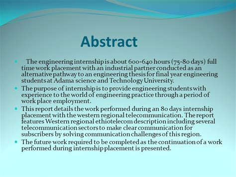 thesis abstract engineering abstract the engineering internship is about hours 75 80