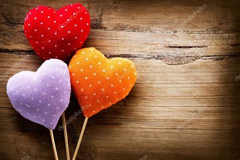 Handmade Hearts - valentines vintage handmade hearts wooden background