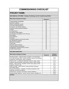 pre installation checklist template 157882189 commissioning checklist3 11 10