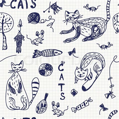 free vector doodle cat seamless background with doodle cats stock vector