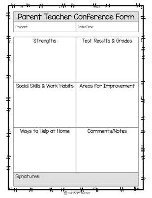 parent up card template thehappyteacher parent conferences 8 more tips