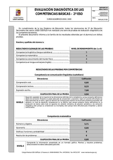 Ejemplo De Reporte De Evaluacion De Preescolar Por Cos | ejemplo informe individualizado resultados evaluaci 243 n