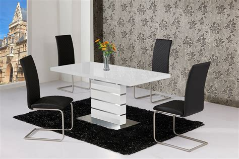 black gloss dining table and chairs extending white high gloss dining table and 4 black chairs