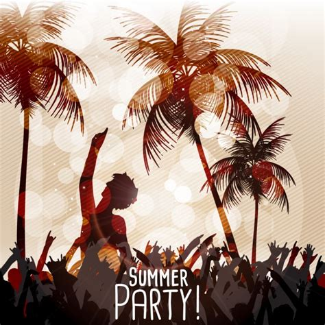 Summer party at the beach Vector   Free Download