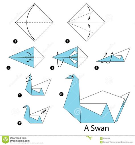 Origamy Swan - step by step how to make origami a swan