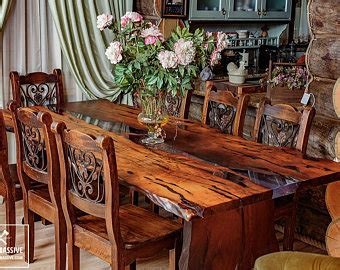 How To Build A Rustic Dining Room Table Live Edge Table Etsy