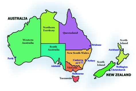 map of australia and nz australia map new zealand