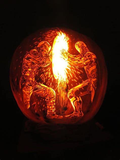 detailed pumpkin carving transforms    dog  lantern