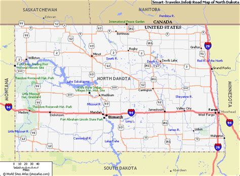 dakota road map with cities dakota map and dakota satellite images