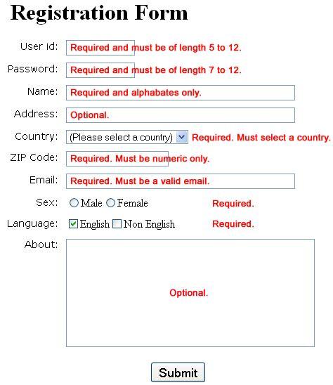 registration form source code sles
