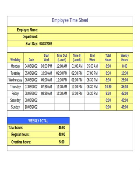 Automated Timesheet Excel Template by 30 Timesheet Templates Free Sle Exle Format