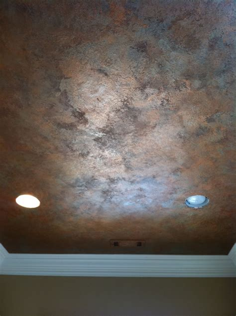 Knock Down Textured Finish With Metallic Waxes On Ceiling Ceiling Paint Finish