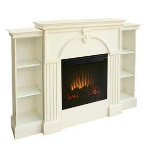 Antique White Electric Fireplace W Pier Bookcases White Electric Fireplace With Bookcase