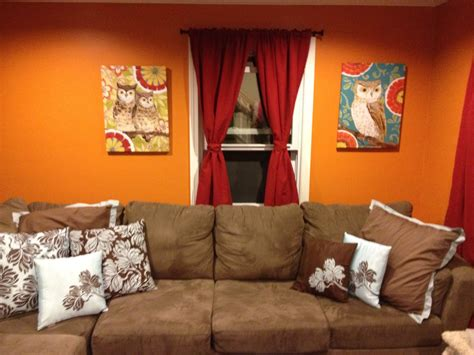 orange living room walls beautiful living room with brown velvet sectional sofa and
