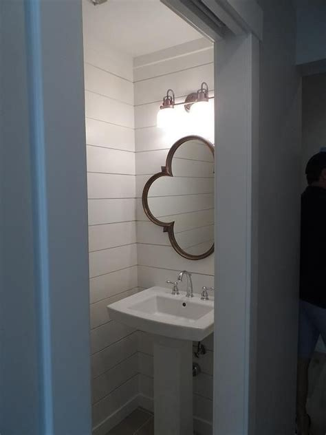 small bathroom downlights small powder room features walls clad in shiplap lined