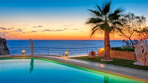 beach resort overlooking ocean hd wallpaper background