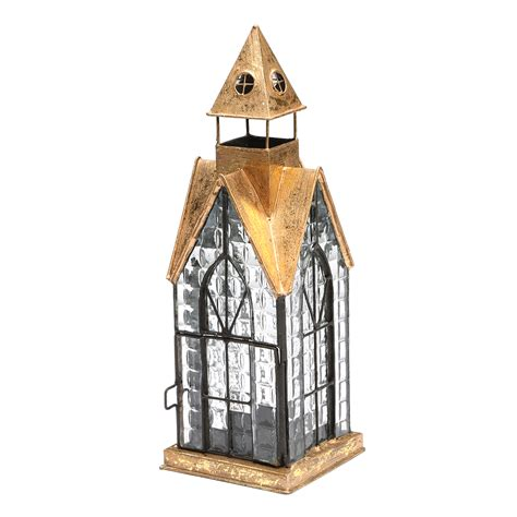 glass  metal architectural candle lantern copper tone
