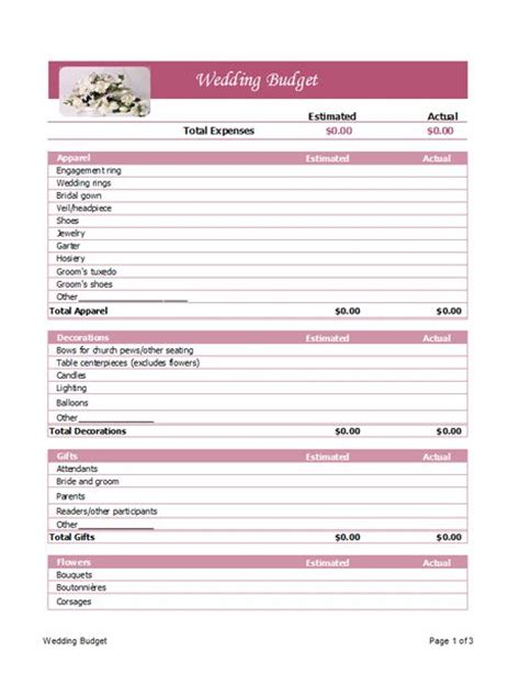 microsoft budget template wedding budget planner microsoft office template