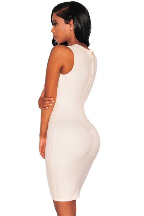 Lace Up Sleeveless Bodycon Dress white lace up v neck sleeveless bodycon dress