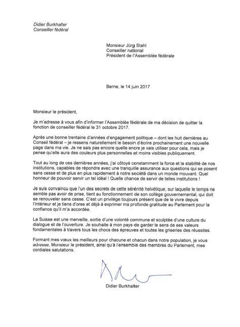 Exemple De Lettre De Démission Suisse la lettre de d 233 mission de didier burkhalter rts ch suisse
