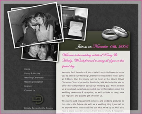A good example of a wedding website   Tips and Advice