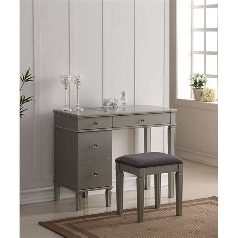 silver bedroom vanity bedroom vanity set in silver 580435sil01u
