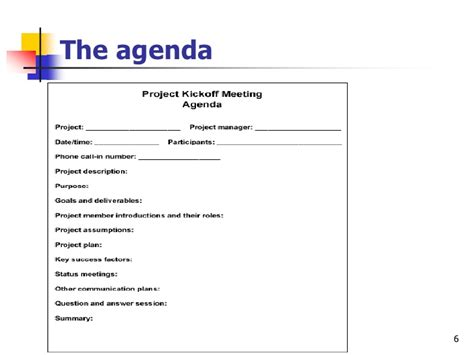 vendor meeting agenda template effective project kickoff meeting