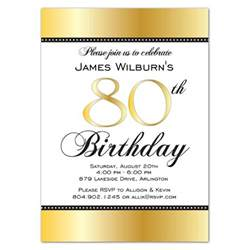 golden celebration 80th birthday invitations paperstyle